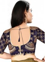 Navy Blue Color Readymade Blouse With Embroidery Work