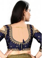 Elegant Navy Blue Color Blouse With Embroidery Work