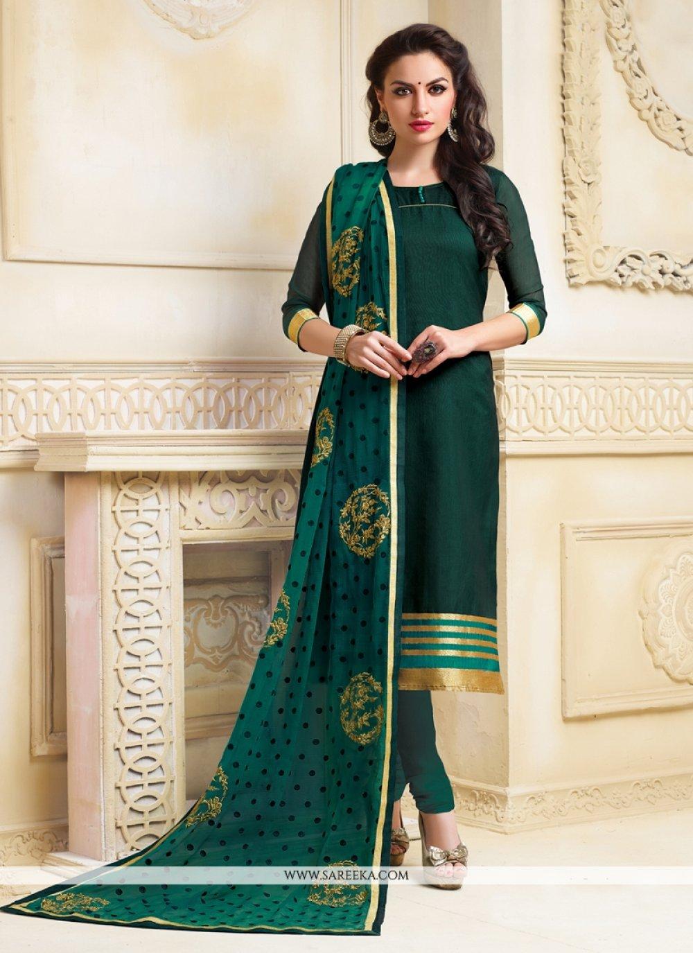 Lace Work Chanderi Churidar Salwar Suit