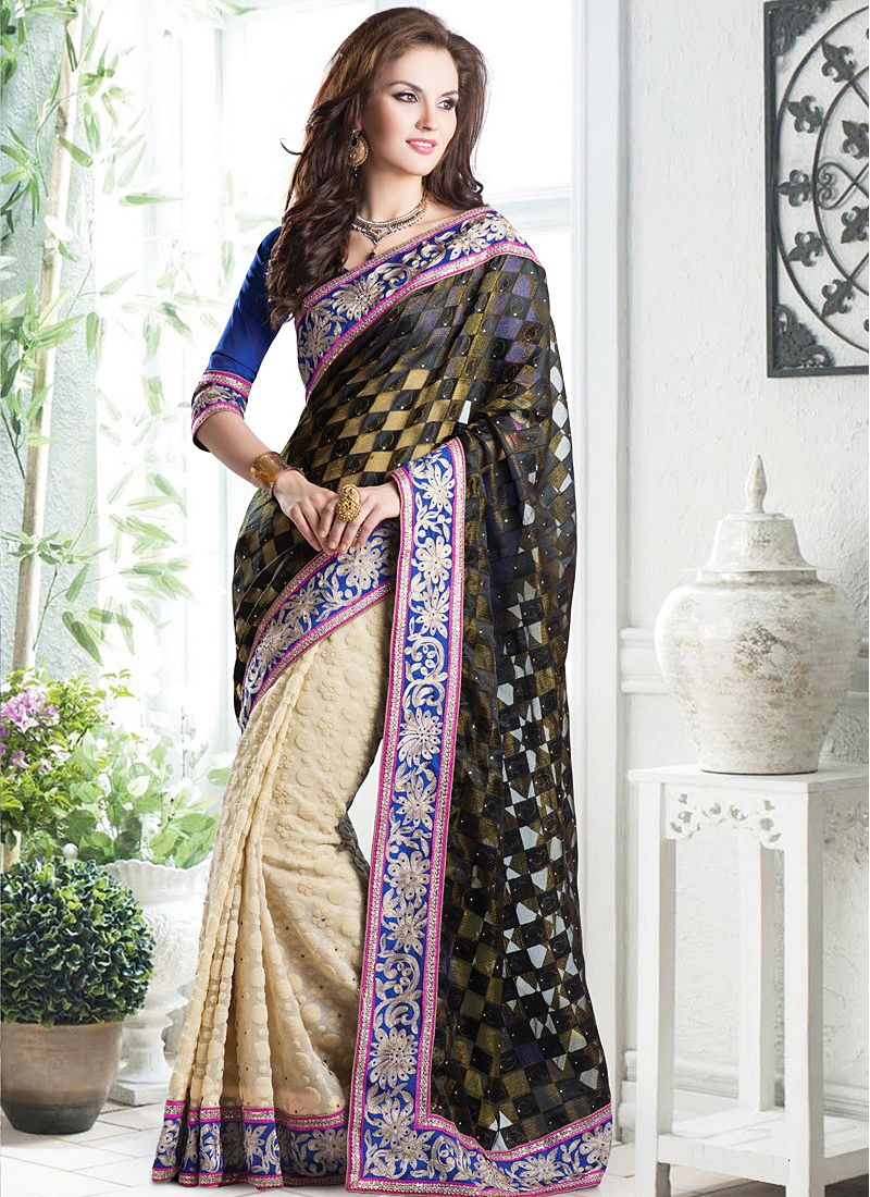 Admirable Black And Cream Patch Border Half And Half Saree
