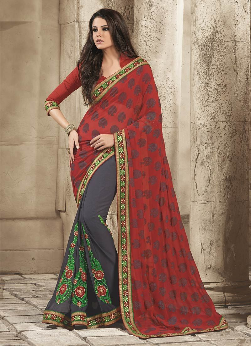 Admirable Grey And Red Georgette Saree