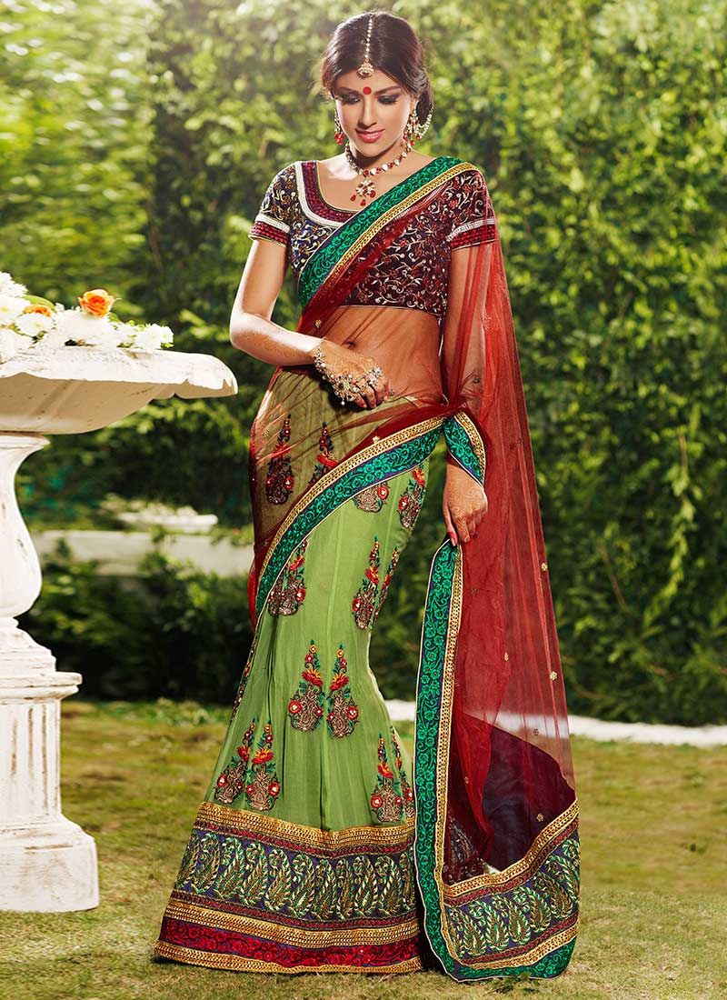 Admirable Green Net Lehenga Saree