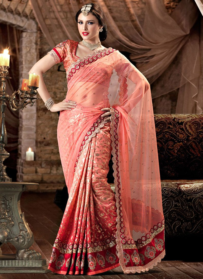 Admirable Peach Half and Half Saree