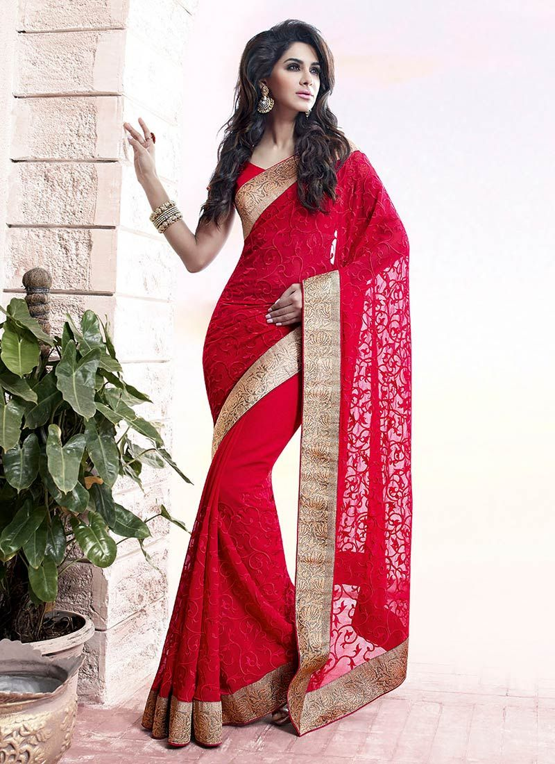 Cream and Coral Pink Embroidered Saree