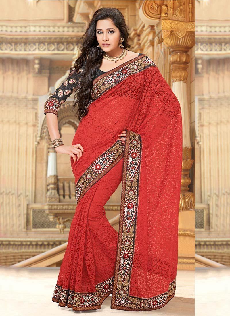 Admirable Red Tissue Jacquard Saree
