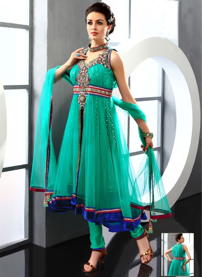 Admirable Sea Green Net Anarkali Suit -