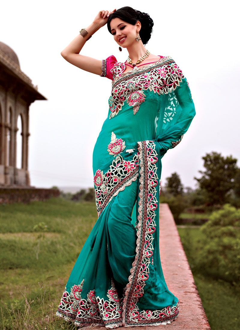 Admirable Turquoise Georgette Saree