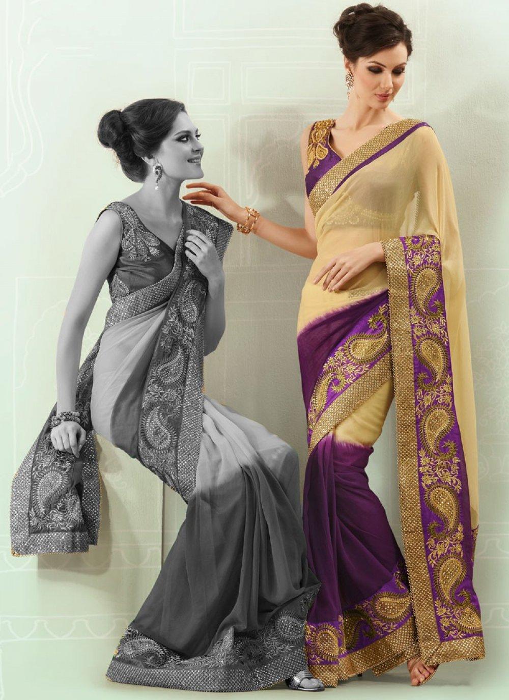 Admirable Zari Embroidered Faux Georgette Saree
