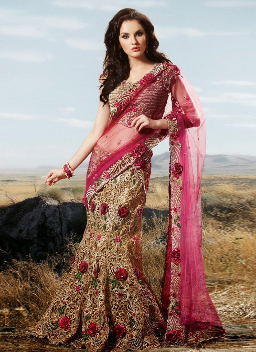 Beige And Red Net Bridal Lehenga Choli