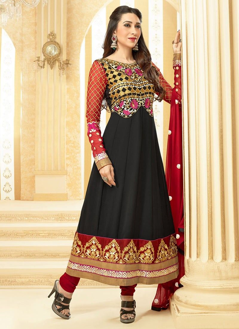 Black And Orange Faux Georgette Churidar Suit