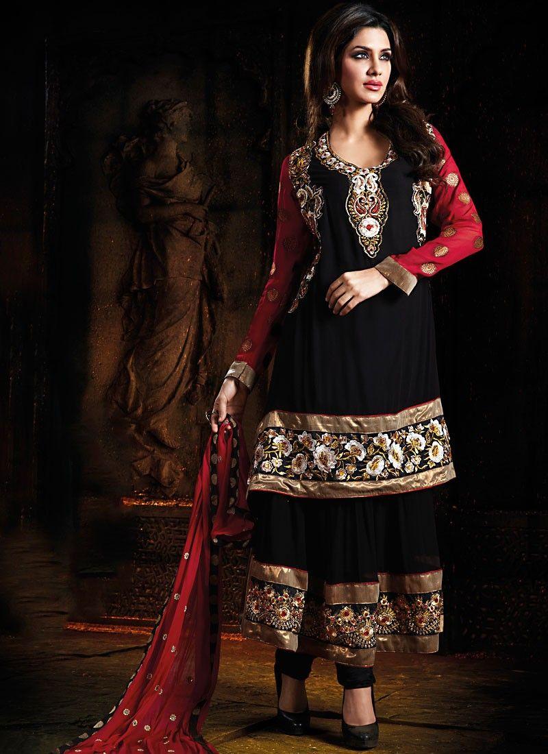 Black & Crimson Salwar Kameez
