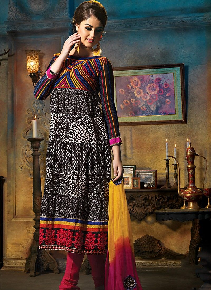 Black & Deep Pink Anarkali Suit