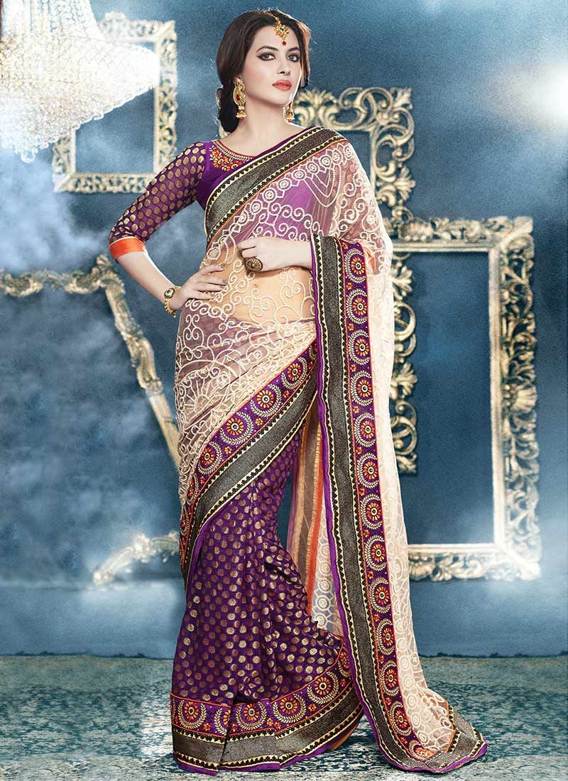Cream And Purple Viscose Net Half And Half Saree