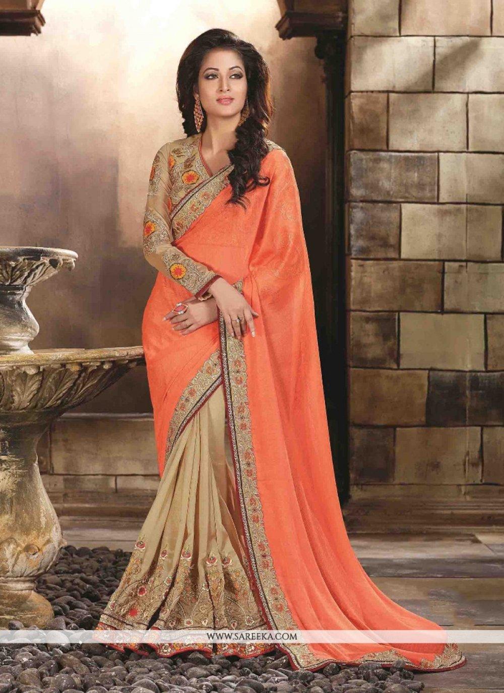 Faux Chiffon Orange Embroidered Work Designer Saree
