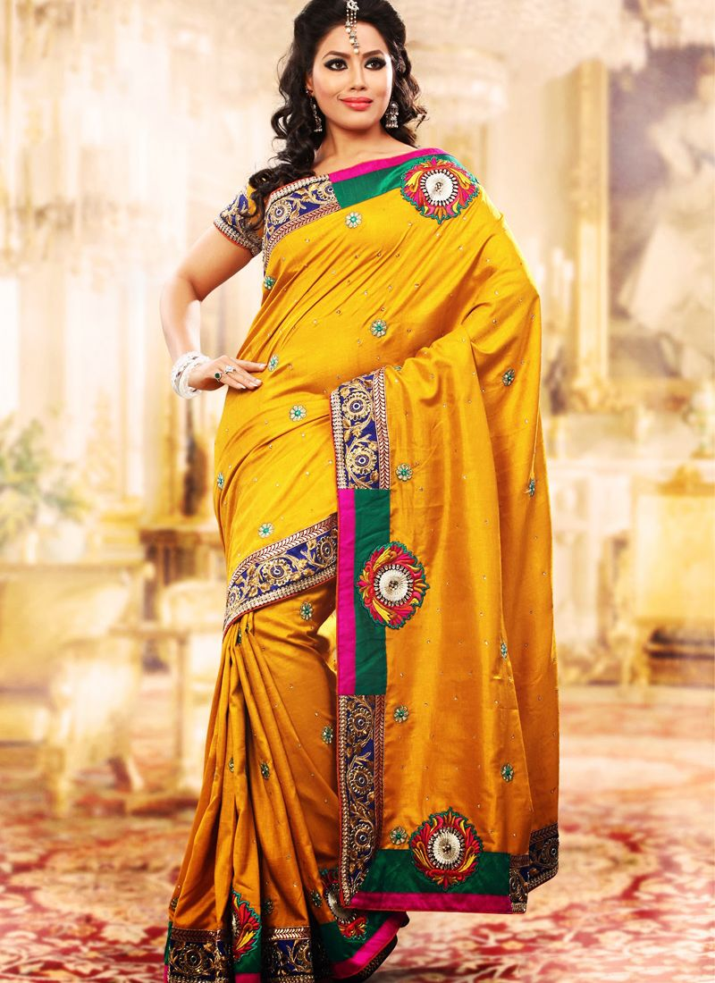 golden yellow Embroidered Saree