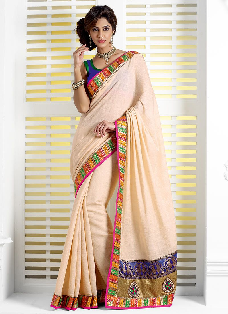Jacquard Cream Wedding Saree
