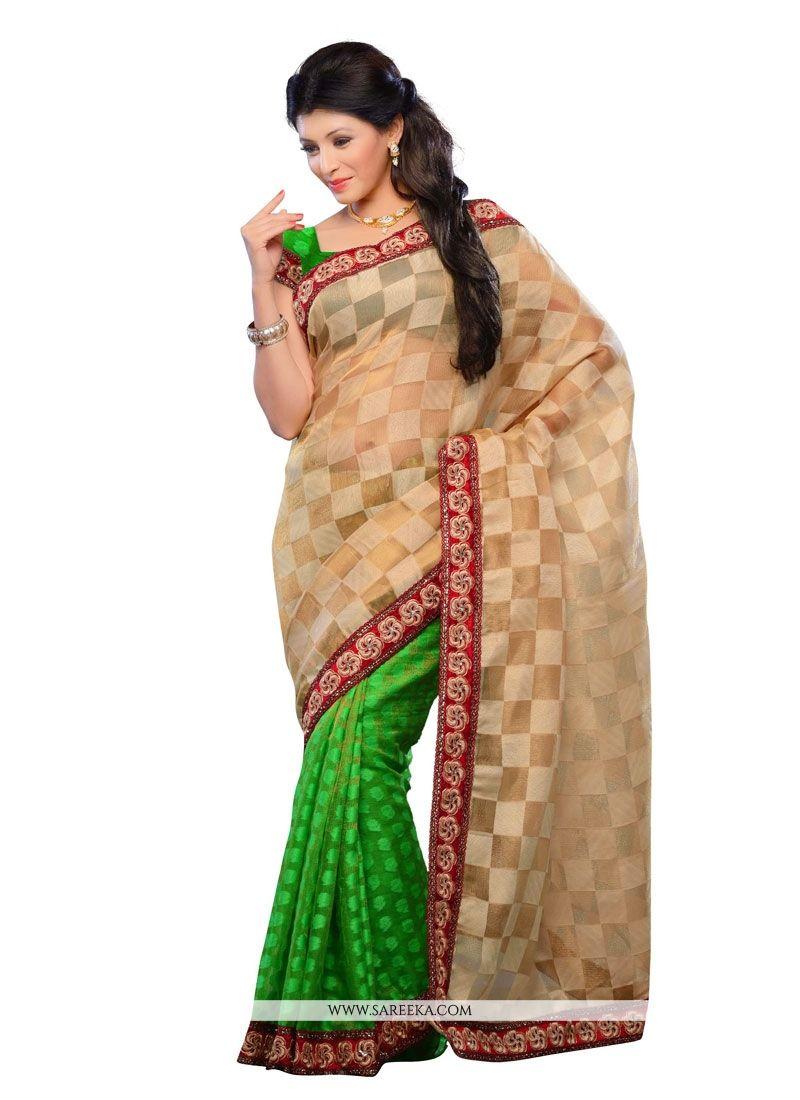 Patch Border Work Green Designer Saree