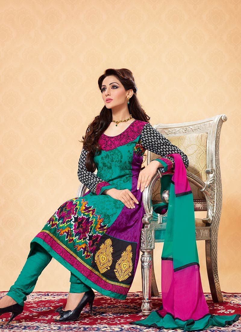 Teal Printed Cotton Churidar Suit