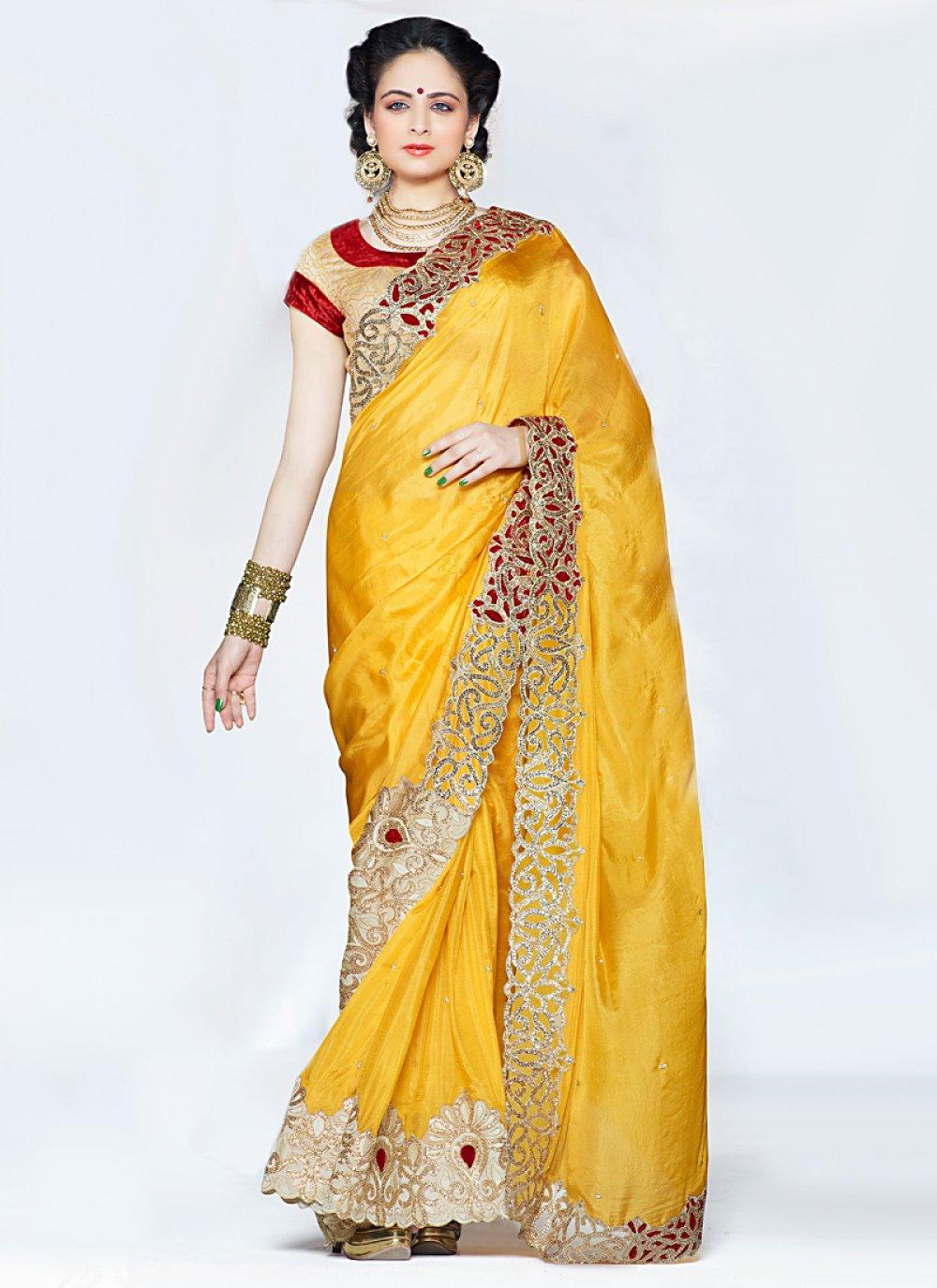 Yellow Zari And Embroidered Silk Saree