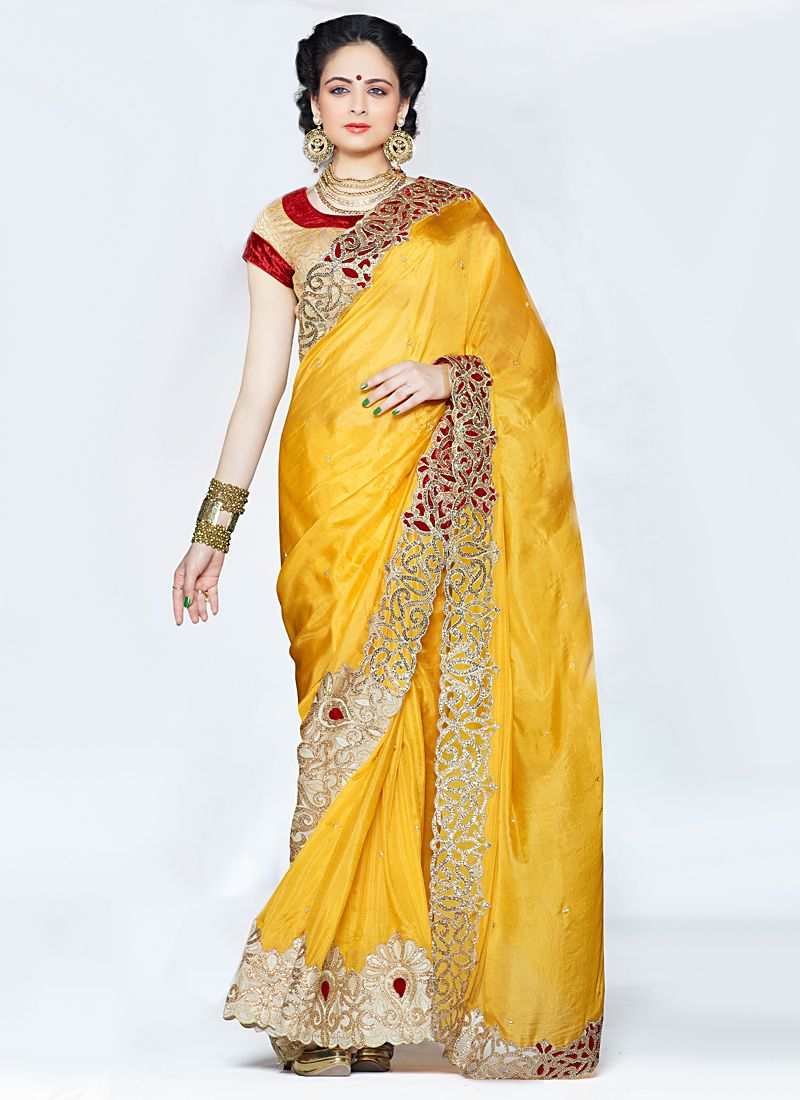 Yellow Zari And Embroidered Silk Saree