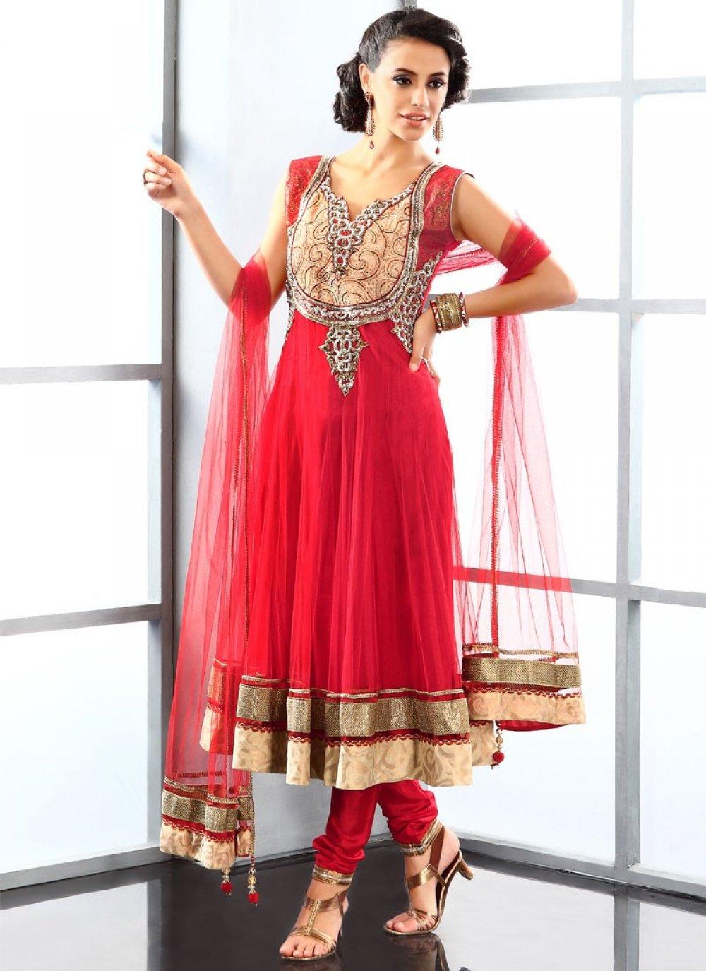 Adorn Red Net Anarkali Suit