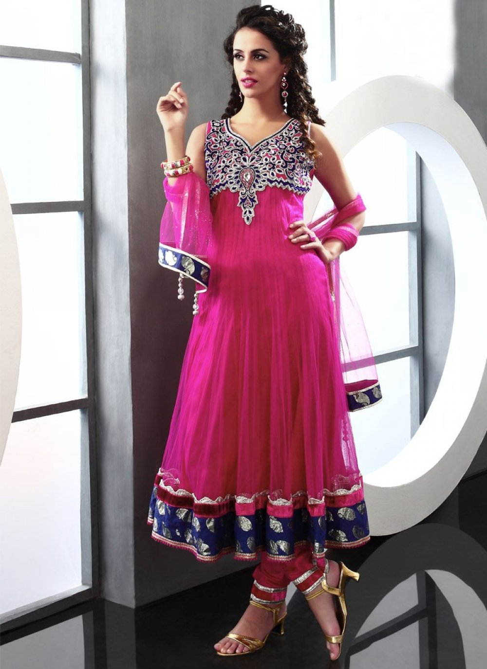 Adorned Magenta Net Anarkali Suit