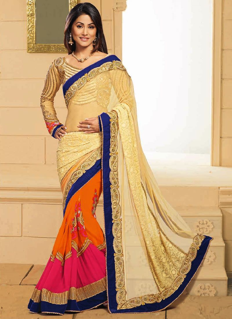 Akshara Cream And Orange Half And Half Saree