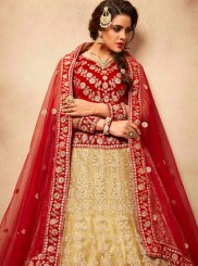 Beige and Red Embroidered Work Net A Line Lehenga Choli