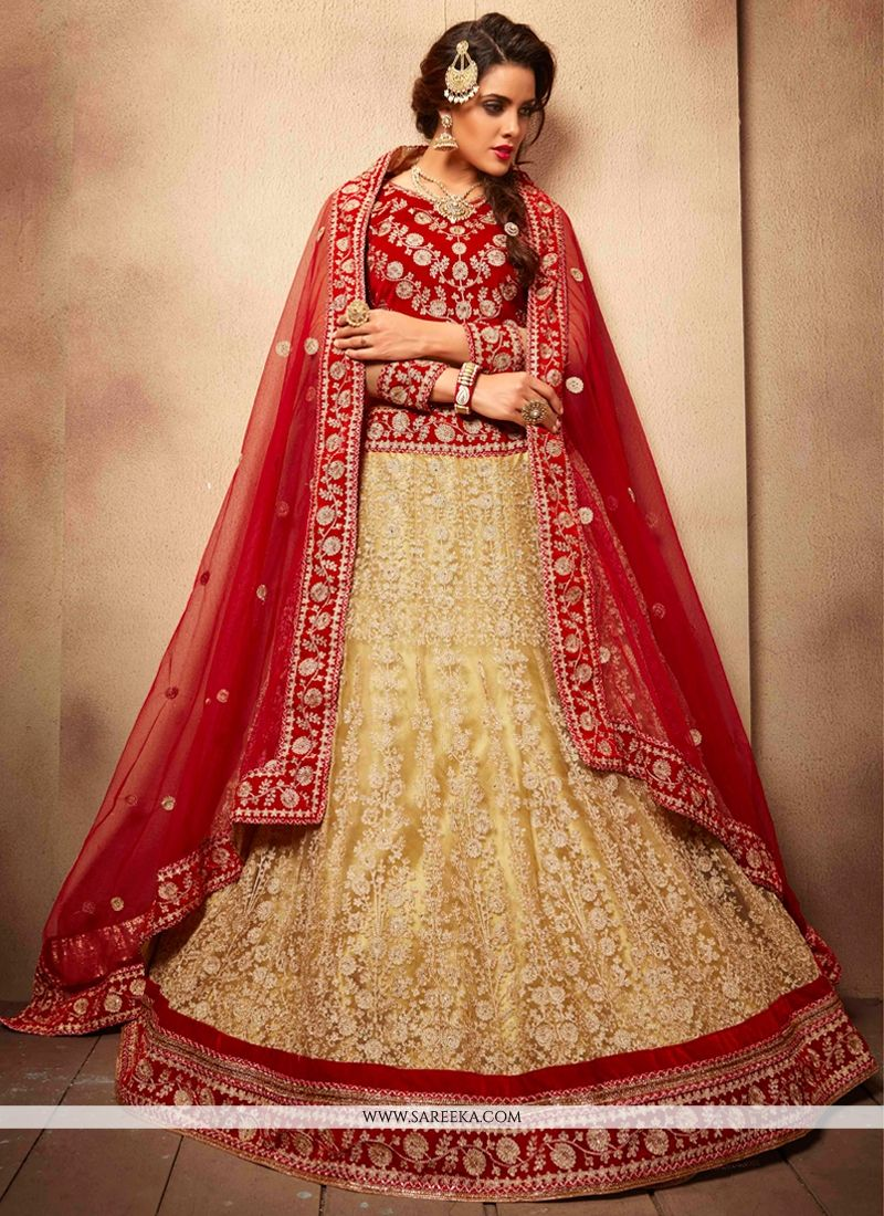 8ada7079bc Beige and Red Embroidered Work Net A Line Lehenga Choli -