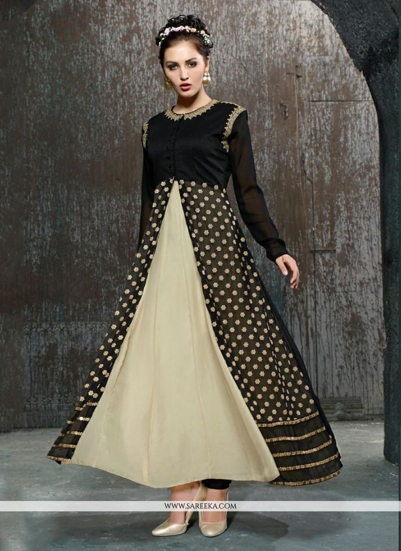 Black and Cream Net Anarkali Salwar Kameez