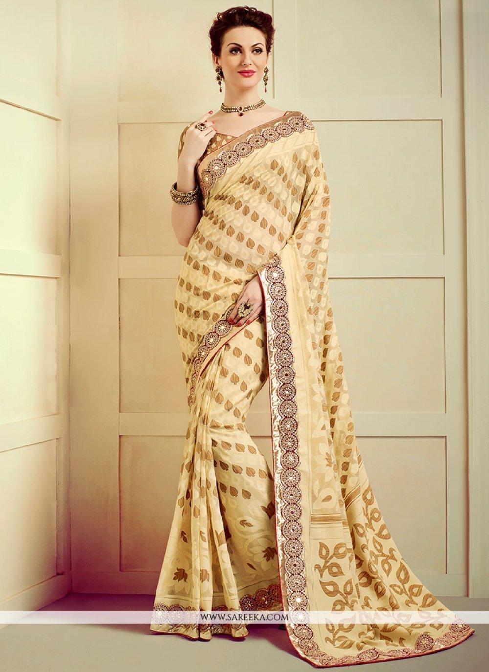 Faux Chiffon Resham Work Designer Saree