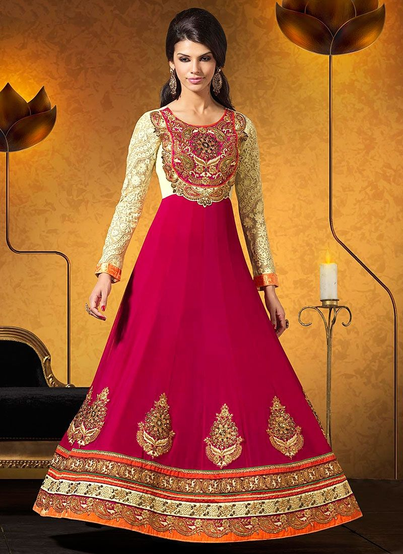 Magenta And Beige Embroidery Georgette Anarkali Suit