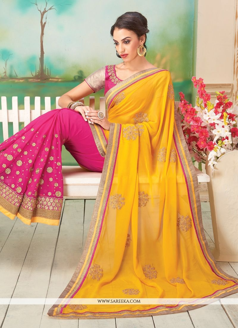 Pink and Yellow Embroidered Work Georgette Designer Saree