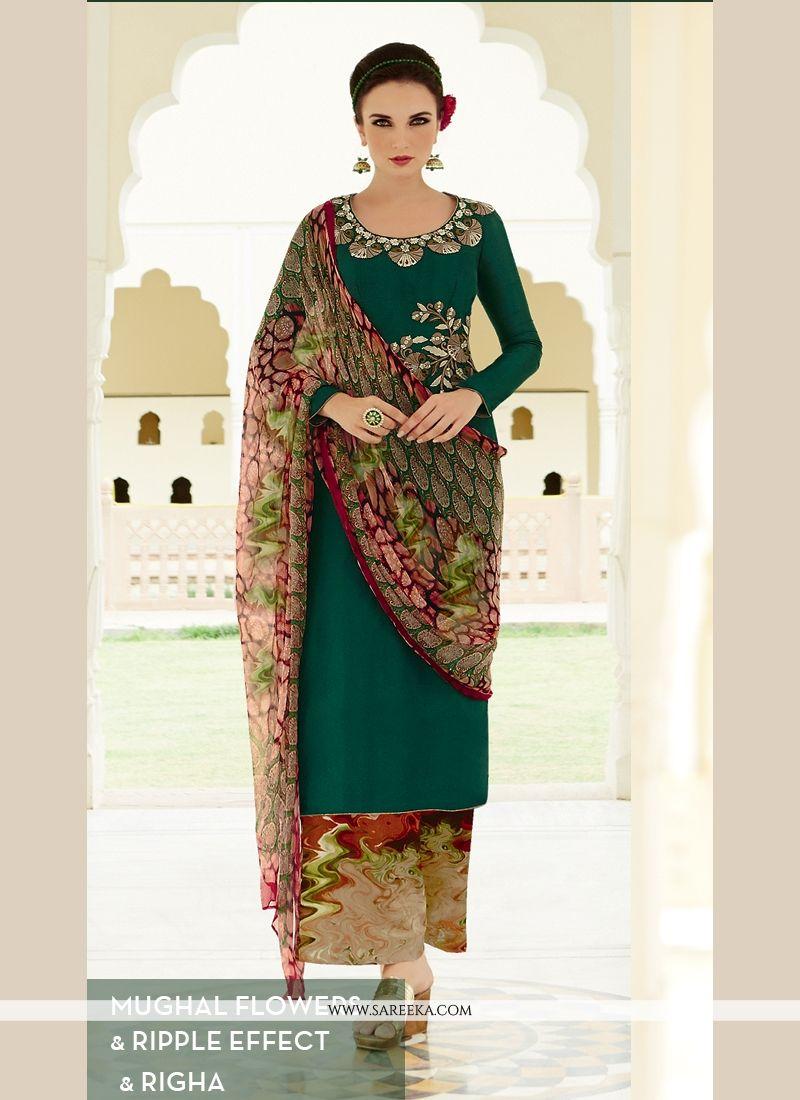 Resham Work Cotton Satin Designer Palazzo Suit
