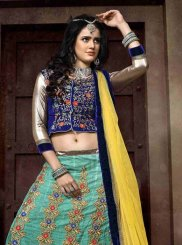 Turquoise Patch Border Work Net A Line Lehenga Choli