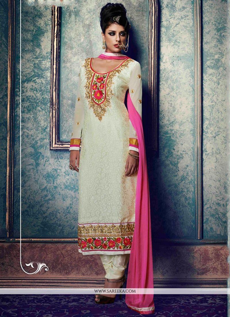 White Lace Work Churidar Salwar Kameez