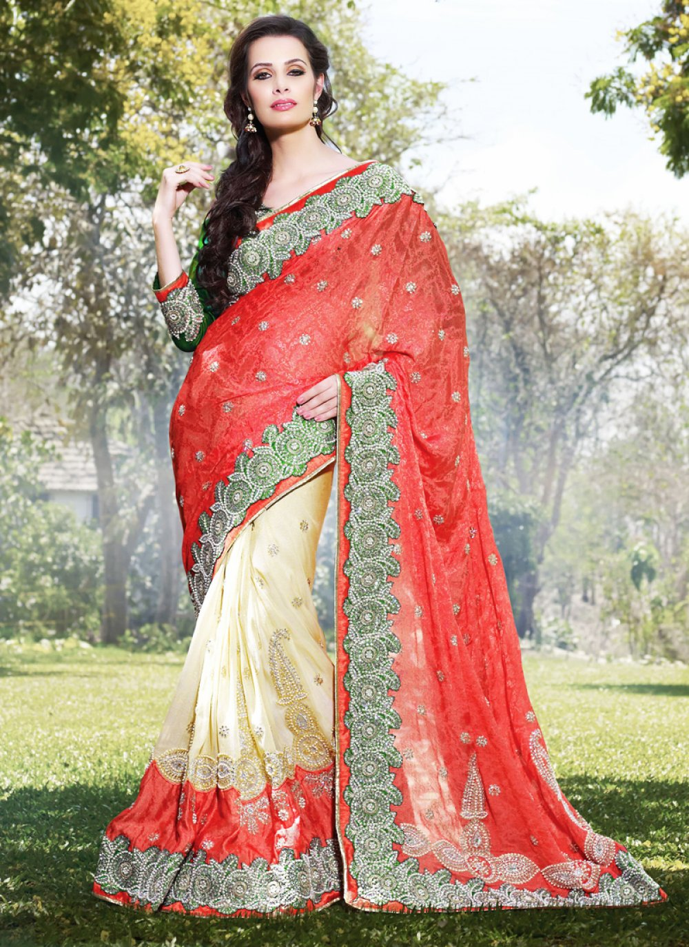 Bige Brown & Coral Embroidered Saree