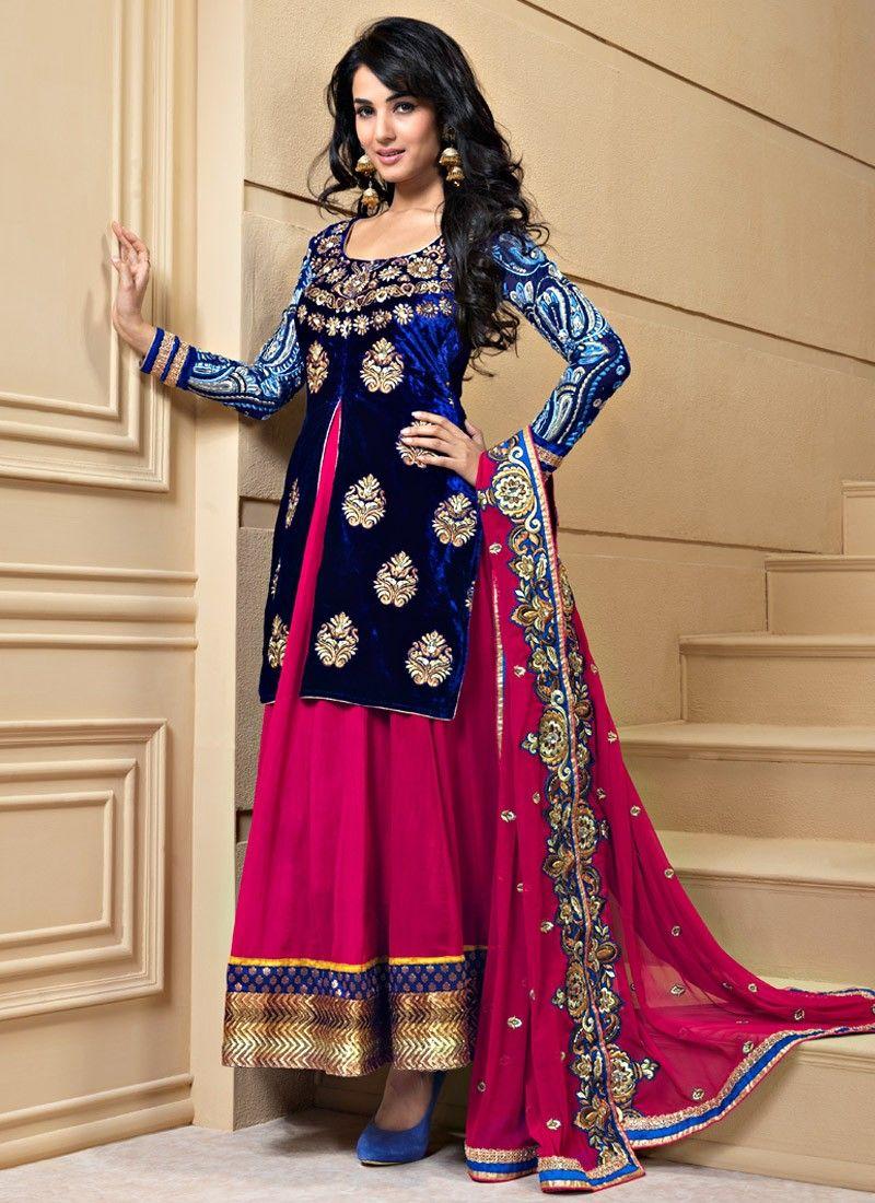 Fuchsia & Nvy Blue Salwar Kameez