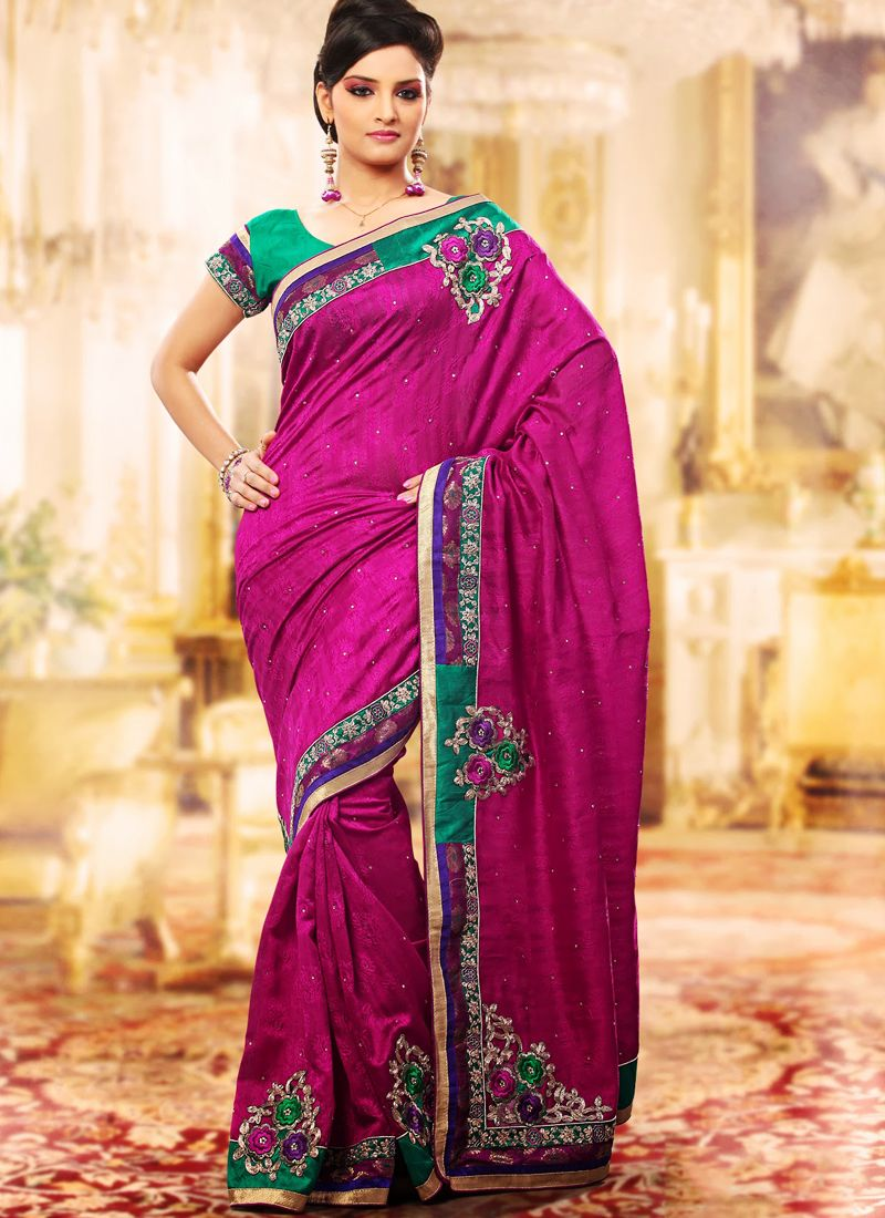 Magenta Embroidered Saree