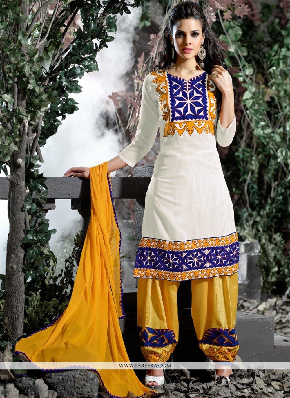 Off White Cotton   Designer Salwar Suit