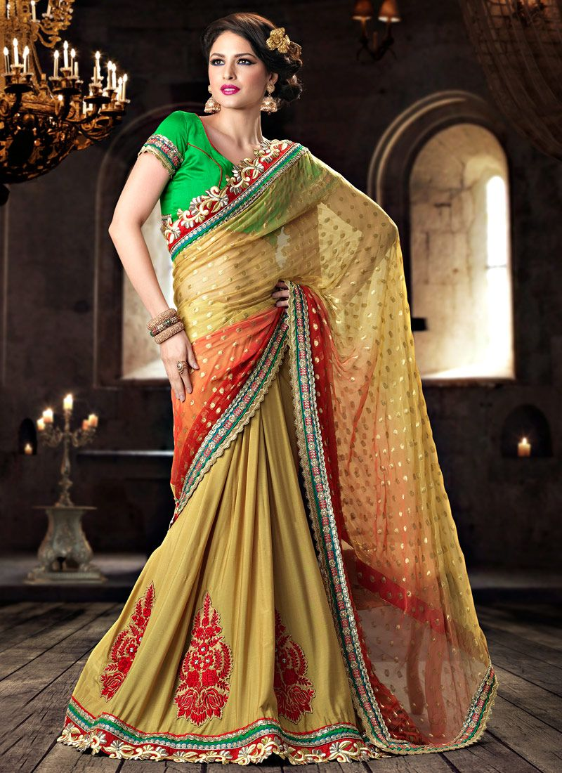 Yellow Viscose Lehenga Saree