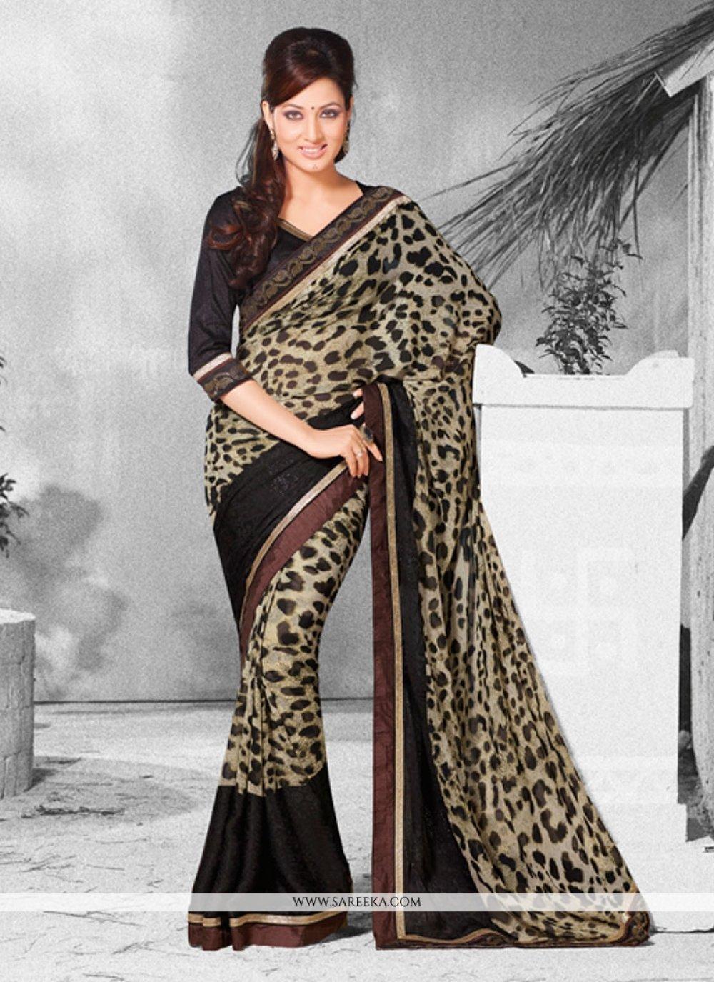 Georgette Black Designer Saree