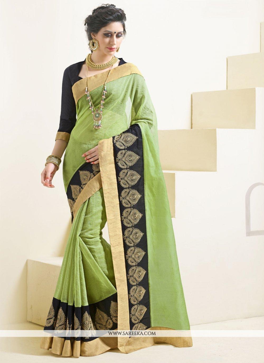 Lace Work Green Designer Saree