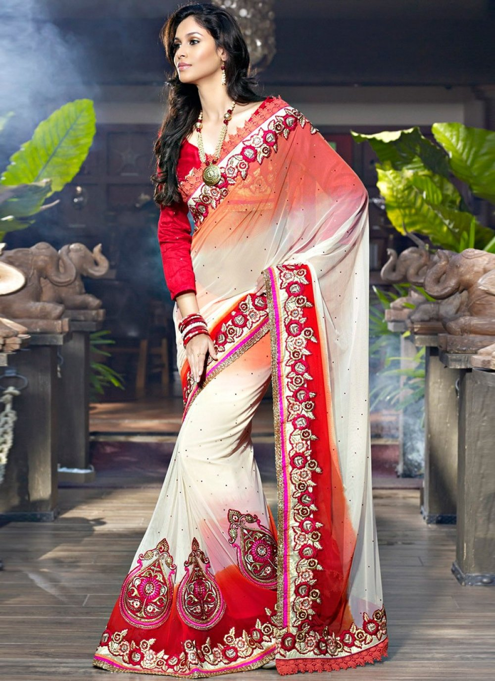 Apricot & Brick Red Embroidered Saree