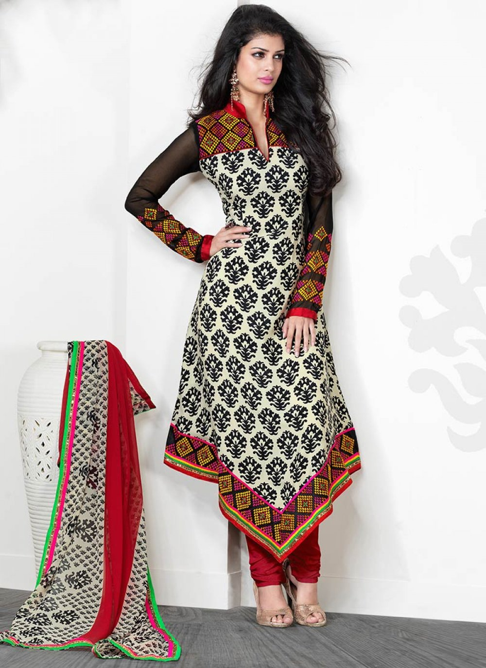 Beige And Red Crepe Churidar Suit