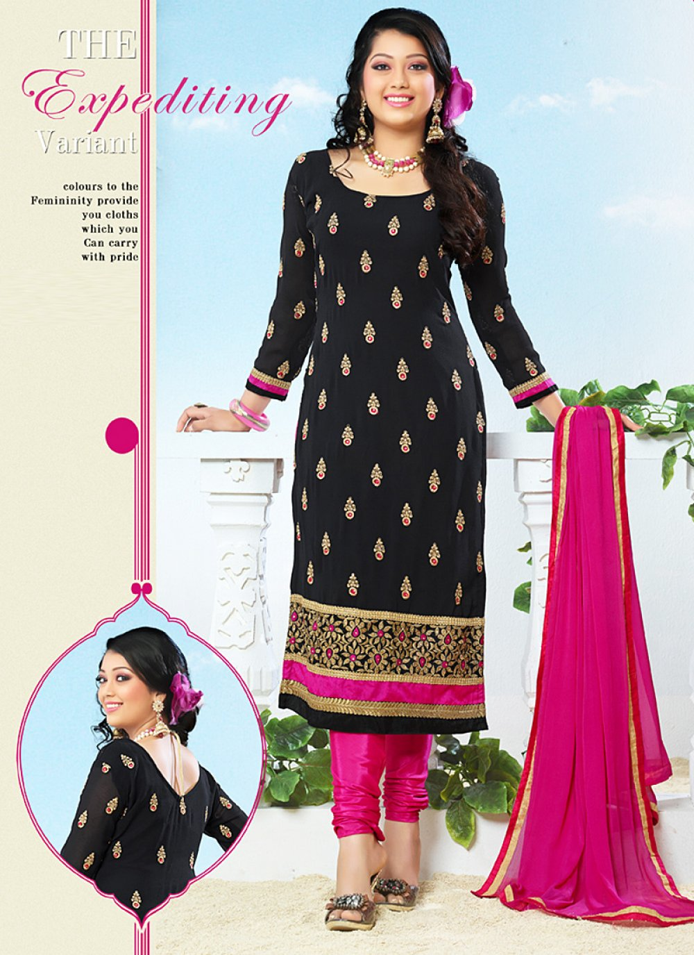 Black And Magenta Embroidery Work Churidar Suit