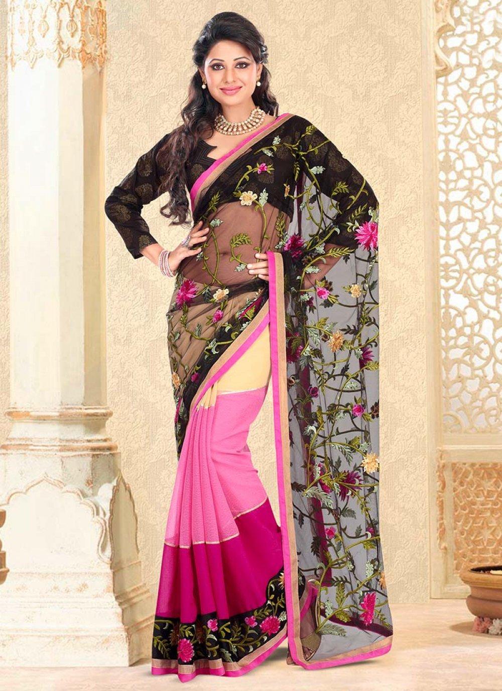 Black And Pink Half And Half Saree