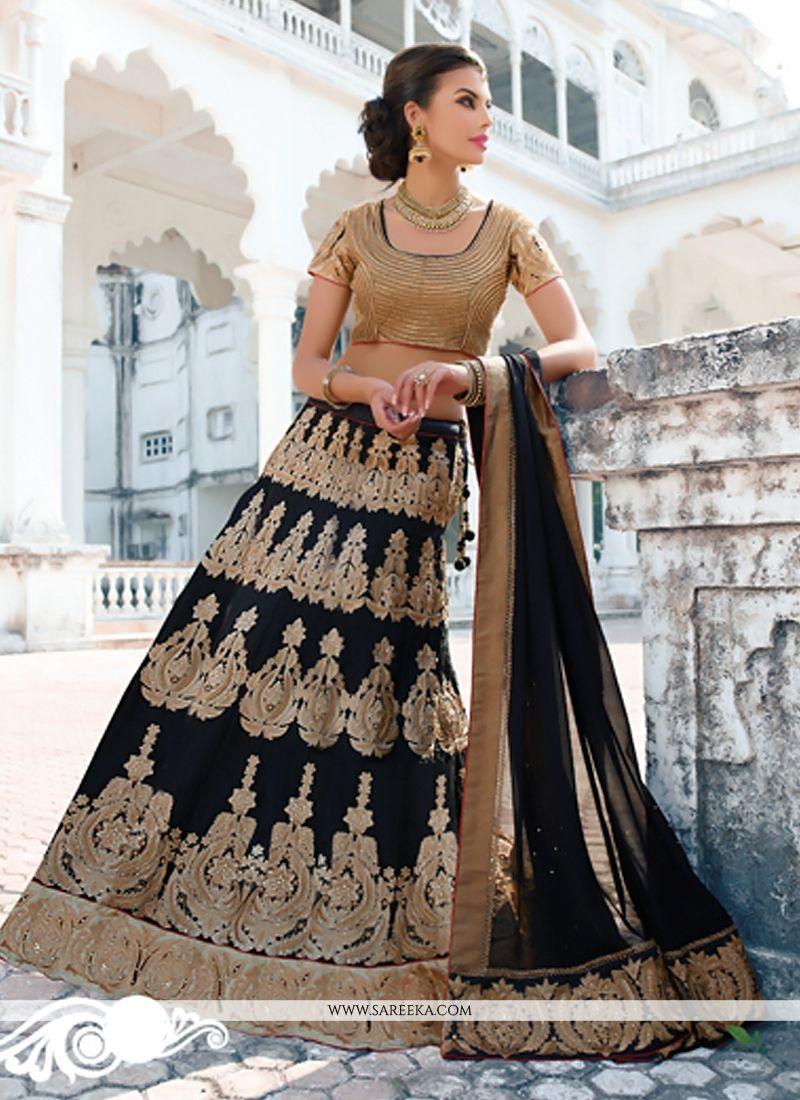 Black Bhagalpuri Silk Designer Lehenga Choli