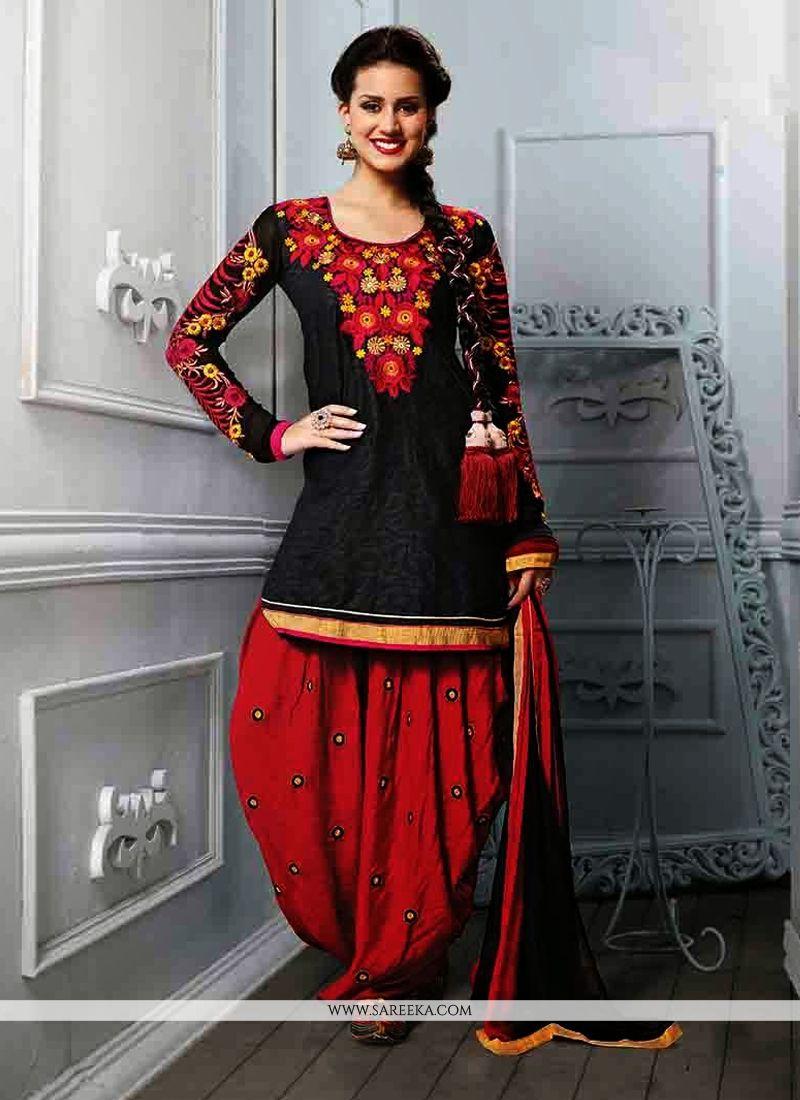 Black Cotton Jacquard Punjabi Suit