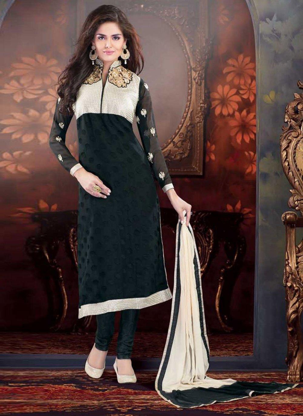 Black Embroidered Work Churidar Suit